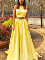 Sleeveless A-Line Floor-Length Yellow Two Piece Prom Dress