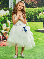 Ball Gown Tulle Appliques Cute Flower Girl Dress