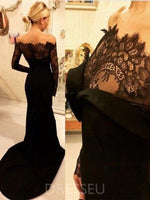 Court Lace Trumpet/Mermaid Long Sleeves Evening Dress