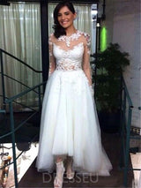 Jewel Long Sleeves A-Line Appliques Wedding Dress