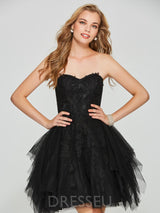 Strapless Sleeveless Appliques Short/Mini Homecoming Dress