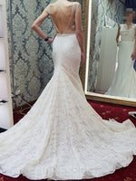 Scoop Sleeveless Beading Floor-Length Beach Wedding Dress
