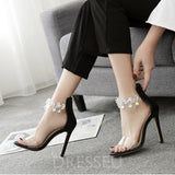 Stiletto Heel Open Toe Heel Covering Zipper Patchwork Rhinestone Sandals