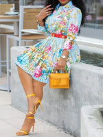 Pleated Knee-Length Long Sleeve Single-Breasted Floral Dress