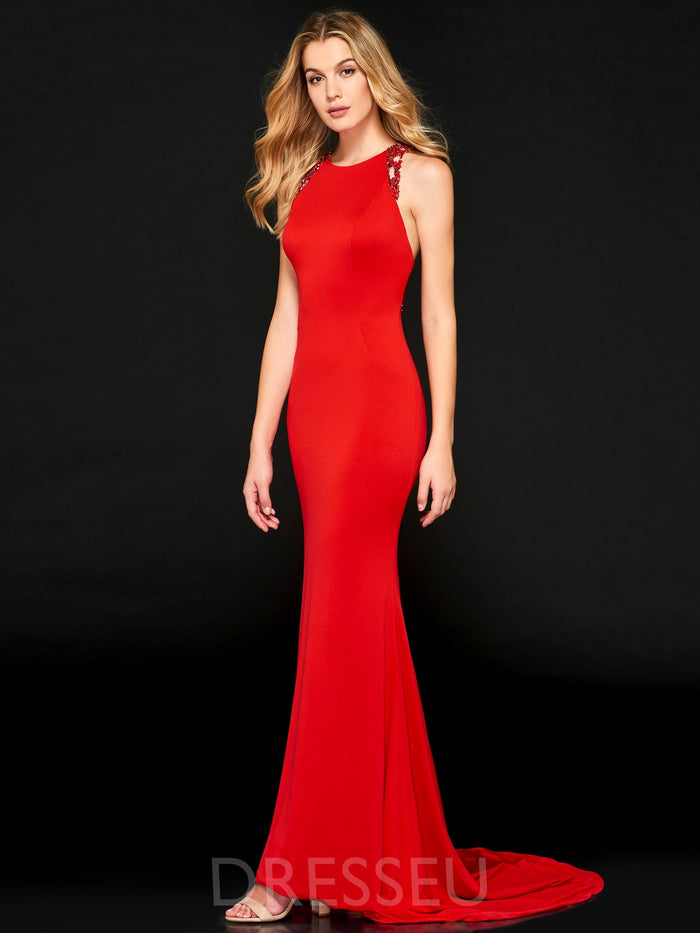 Scoop Sleeveless Trumpet/Mermaid Floor-Length Evening Dress