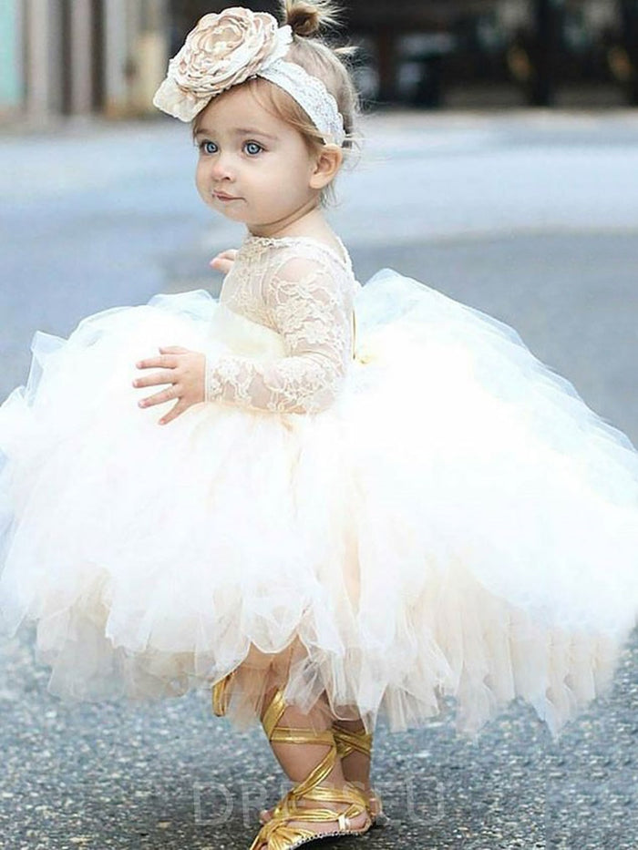 Tea-Length Ball Gown Tulle Long Sleeves Baby Girls Dress