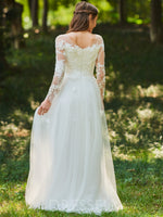 A-Line Floor-Length Scoop Neck Long Sleeves Wedding Dress
