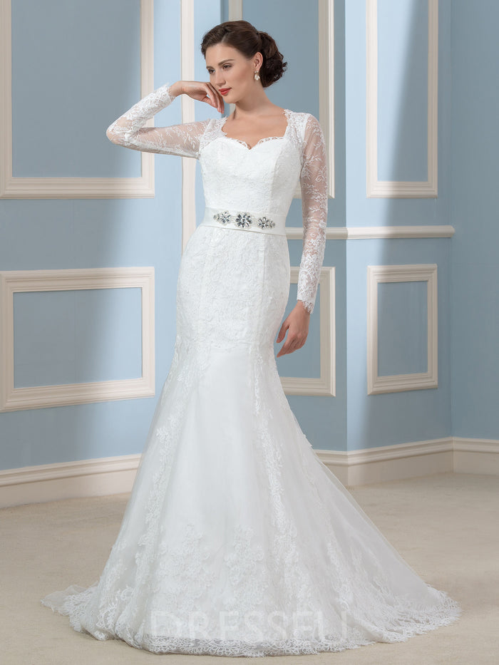 Floor-Length Trumpet/Mermaid Sweetheart Court Wedding Dress