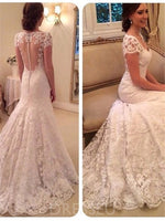 Floor-Length V-Neck Lace Court Church Wedding Dress