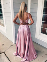 Straps Sleeveless A-Line Lace Prom Dress