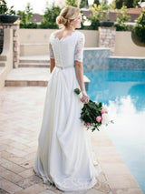 Half Sleeves A-Line Floor-Length Scalloped-Edge Wedding Dress