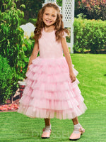 Tulle Tiered Tea-Length Cap Sleeves Sequins Flower Girl Dress