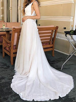 Court Sleeveless Floor-Length A-Line Garden/Outdoor Wedding Dress