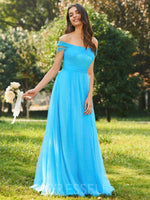 A-Line Ruched Off-The-Shoulder Floor-Length Tulle Bridesmaid Dress