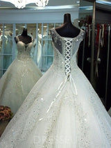 Luxury Chapel Train Crystal Sleeveless Ball Gown Wedding Dress