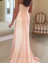 Trumpet/Mermaid Pleats Floor-Length Sleeveless Wedding Party Dress