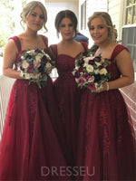 A-Line Floor-Length Straps Appliques Long Bridesmaid Dress