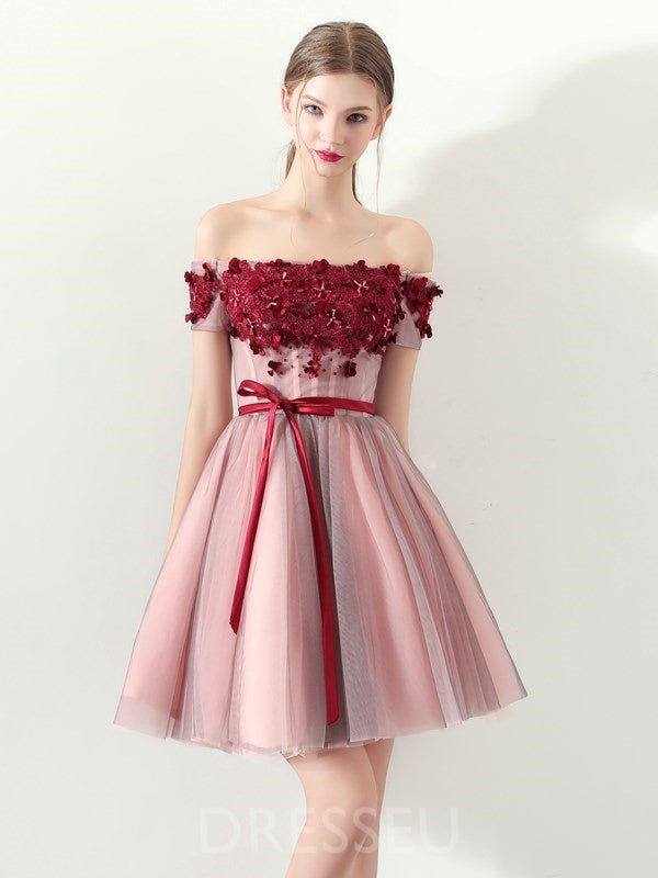 Off-The-Shoulder Bowknot A-Line Short Sleeves Homecoming Dress