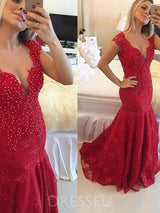 Floor-Length V-Neck Lace Sweep/Brush Evening Dress