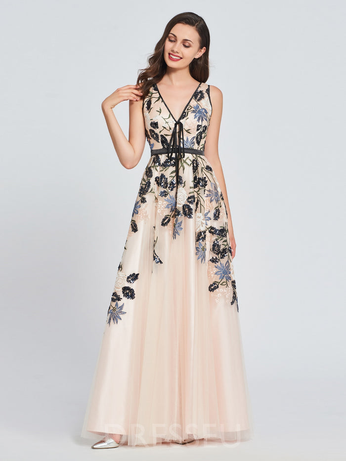 A-Line Sleeveless Embroidery Floor-Length Prom Dress