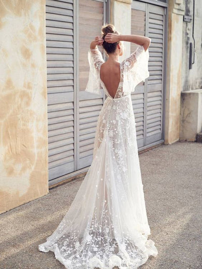 V-Neck Flowers Floor-Length A-Line Half Sleeves Lace Wedding Dress