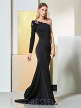 Long Sleeves Court Floor-Length Trumpet/Mermaid Evening Dress