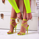 Ankle Strap Thong Stiletto Heel Lace-Up Lace-Up Casual Sandals