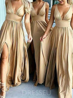 Sleeveless Floor-Length A-Line V-Neck Bridesmaid Dress