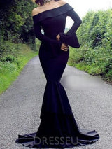 Long Sleeves Court Off-The-Shoulder Trumpet/Mermaid Evening Dress