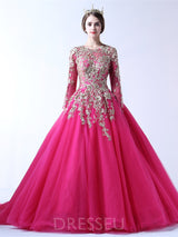 Ball Gown Court Scoop Floor-Length Quinceanera Dress