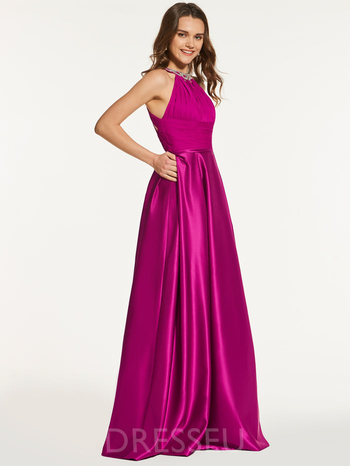 Scoop Sleeveless Beading Floor-Length Prom Dress