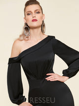 One Shoulder A-Line Long Sleeves Floor-Length Evening Dress