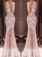 Stunning Tulle Halter Neckline Floor-length Mermaid Evening Dresses With Embroidery & Beadings