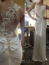 Pearl Beading Backless Sleeveless Ruched Beach Wedding Dress