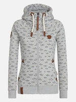 Zipper Print Mid-Length Hooded Hoodie