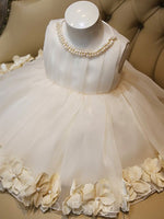 A Line Tea-Length Pearl Flower Girl Dress