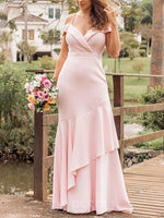 Sleeveless Spaghetti Straps Floor-Length Trumpet/Mermaid Wedding Party Dress