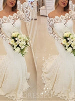 Long Sleeves Floor-Length Appliques Off-The-Shoulder Hall Wedding Dress