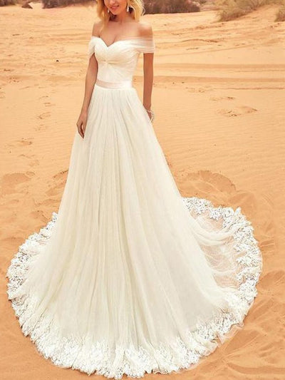 Sashes/Ribbons Off-The-Shoulder Sweep/Brush A-Line Garden/Outdoor Wedding Dress