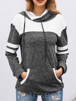 Color Block Regular Hooded Long Sleeve Hoodie