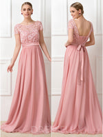 Lace Tops Scoop A-Line Floor-Length 30D Chiffon Bridesmaid Dress