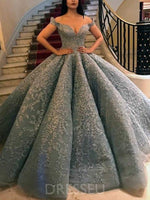 Off-The-Shoulder Sleeveless Long Luxurious Ball Gown Prom Dress
