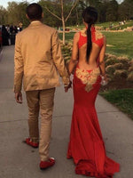 Red Long Prom Dresses High Neck Trumpet/Mermaid Appliques Evening Dress