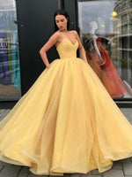 Ball Gown Sleeveless Sweetheart Organza Floor-Length Prom Dresses