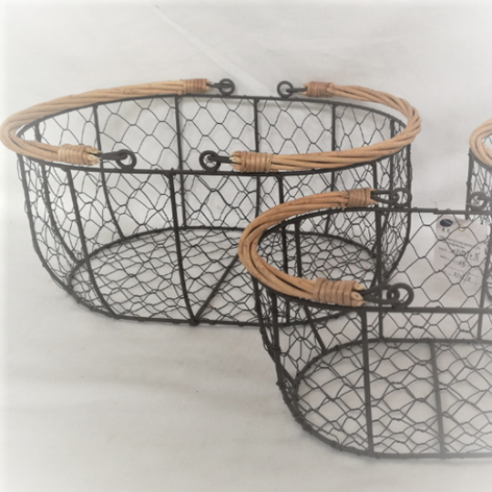 Rustic Metal Baskets Set of 3