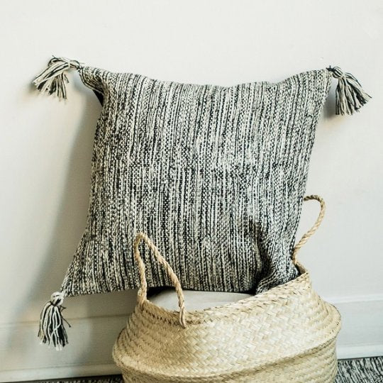 Woven Pillow with Tassels Black over natural