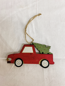 Wooden Red Truck Tree Ornament