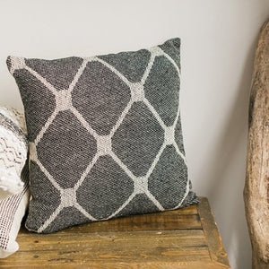 Woven Pillow Black over light grey and natural