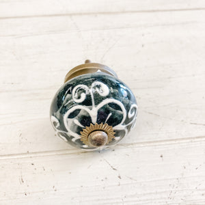 Ceramic Knob--White Floral Pattern over Muted Black