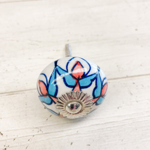 Ceramic Knob Blue and Red Floral Pattern over White